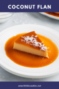 A slice of the flan on a white plate