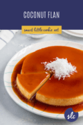 A coconut flan topped with shredded coconut with a slice cut out_Pinterest Collage