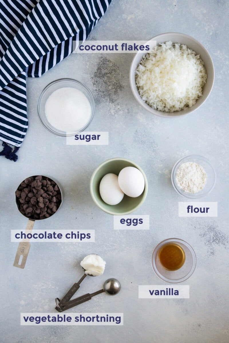 coconut macaroons ingredients laid out on a board