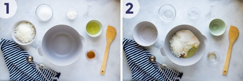 mixing the macaroons ingredients
