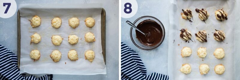 drizzling chocolate sauce over baked cookies