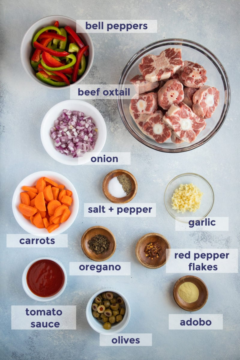 Spicy Oxtail Stew ingredients
