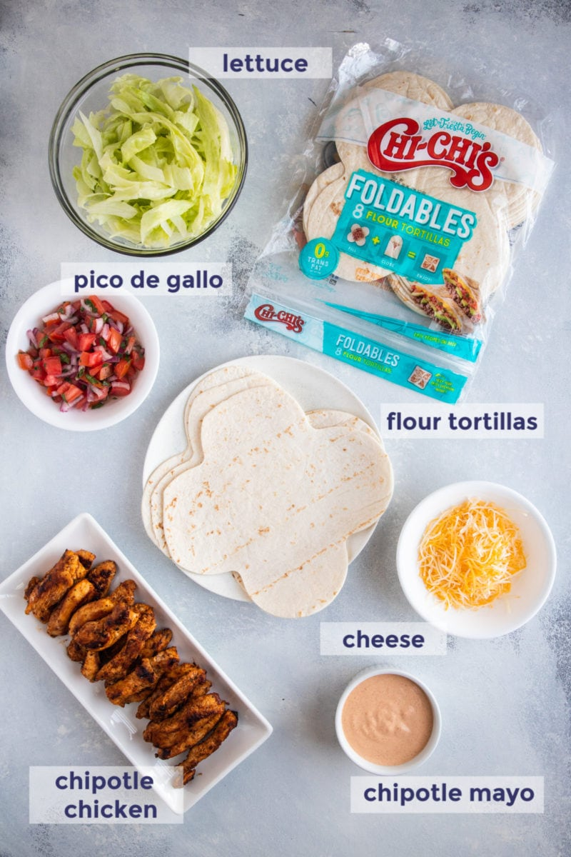 Wrap ingredients on a white table