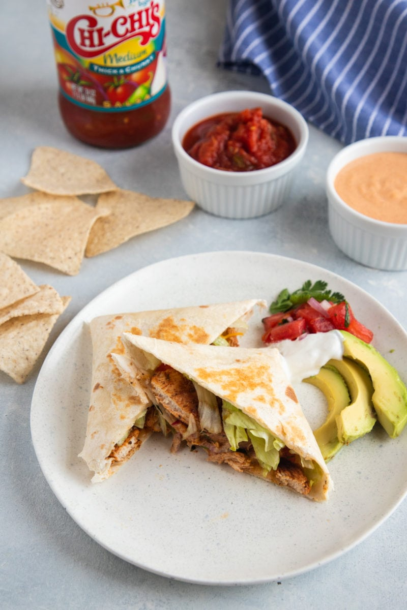 Chicken Wrap with tortilla chip sand salsa on the side