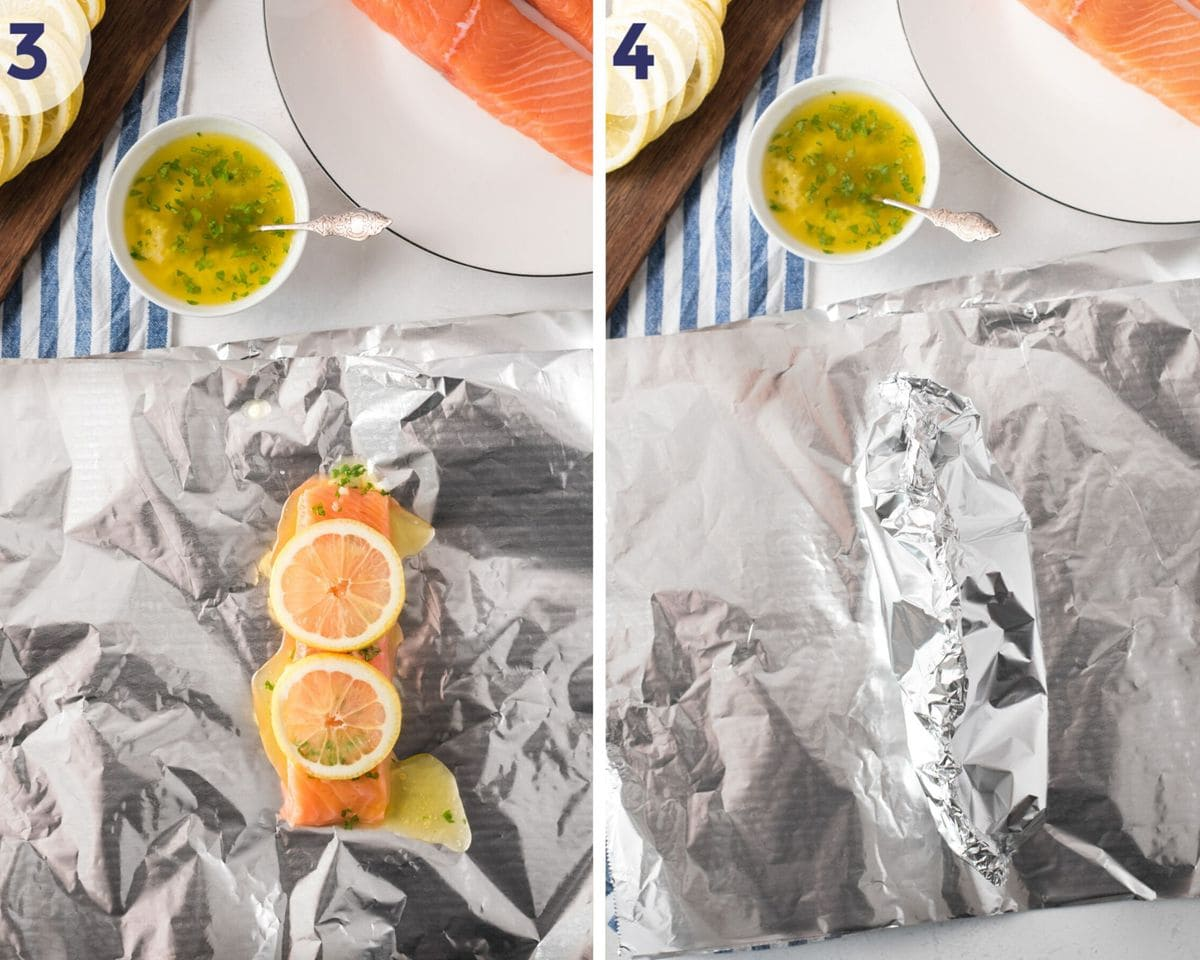 The salmon laid on foil and being wrapped