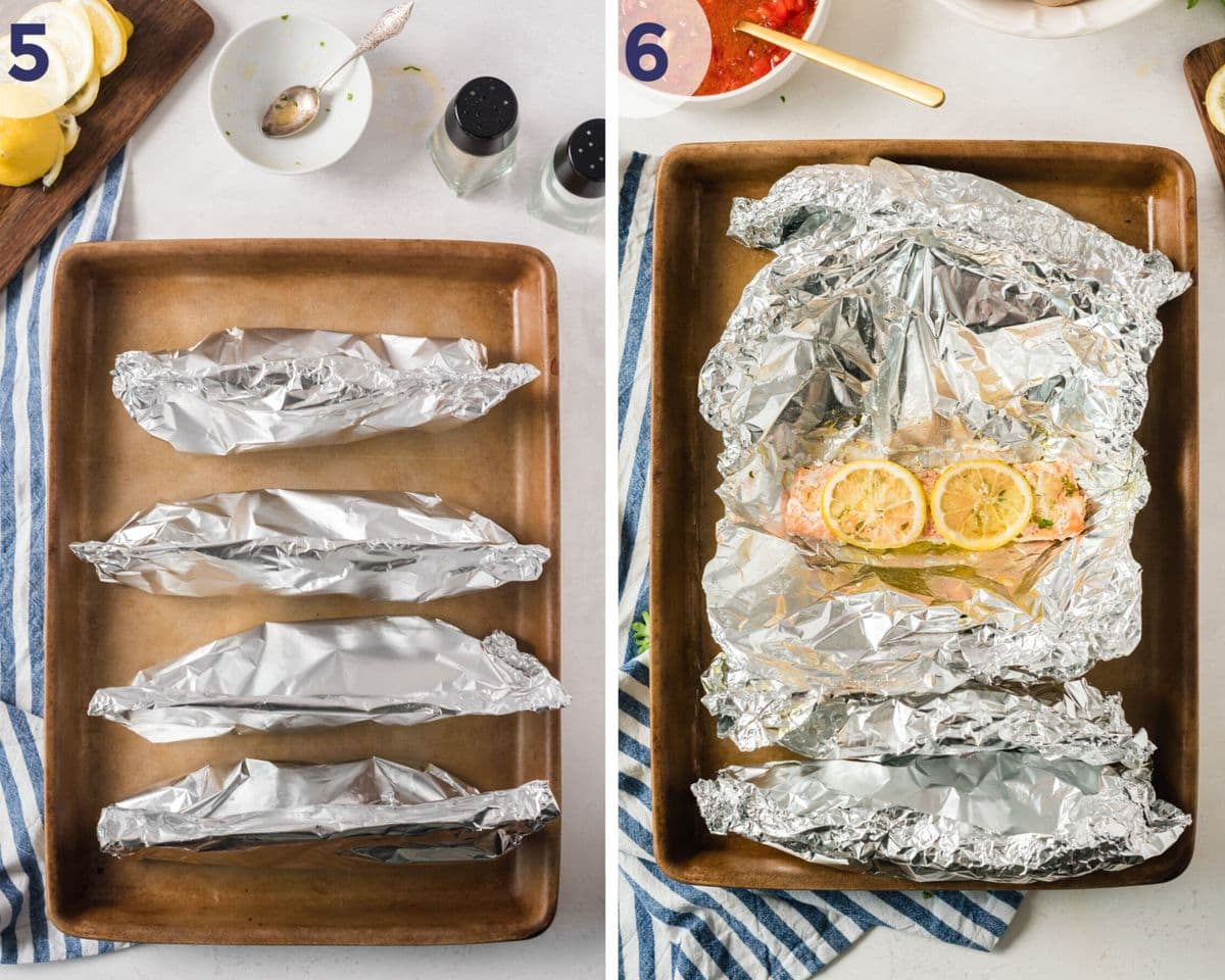 Photos showing how to wrap the salmon