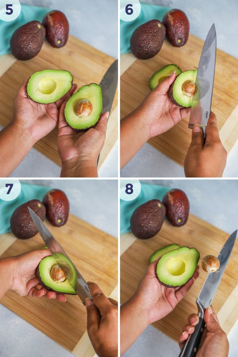 removing the pit from the avocado - collage