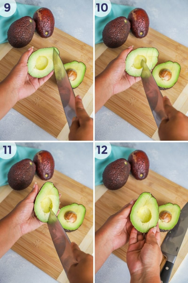 slicing avocado flesh to cut in cubes - collage