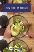 cubed avocado being removed from peel using a spoon- Pinterest graphic collage