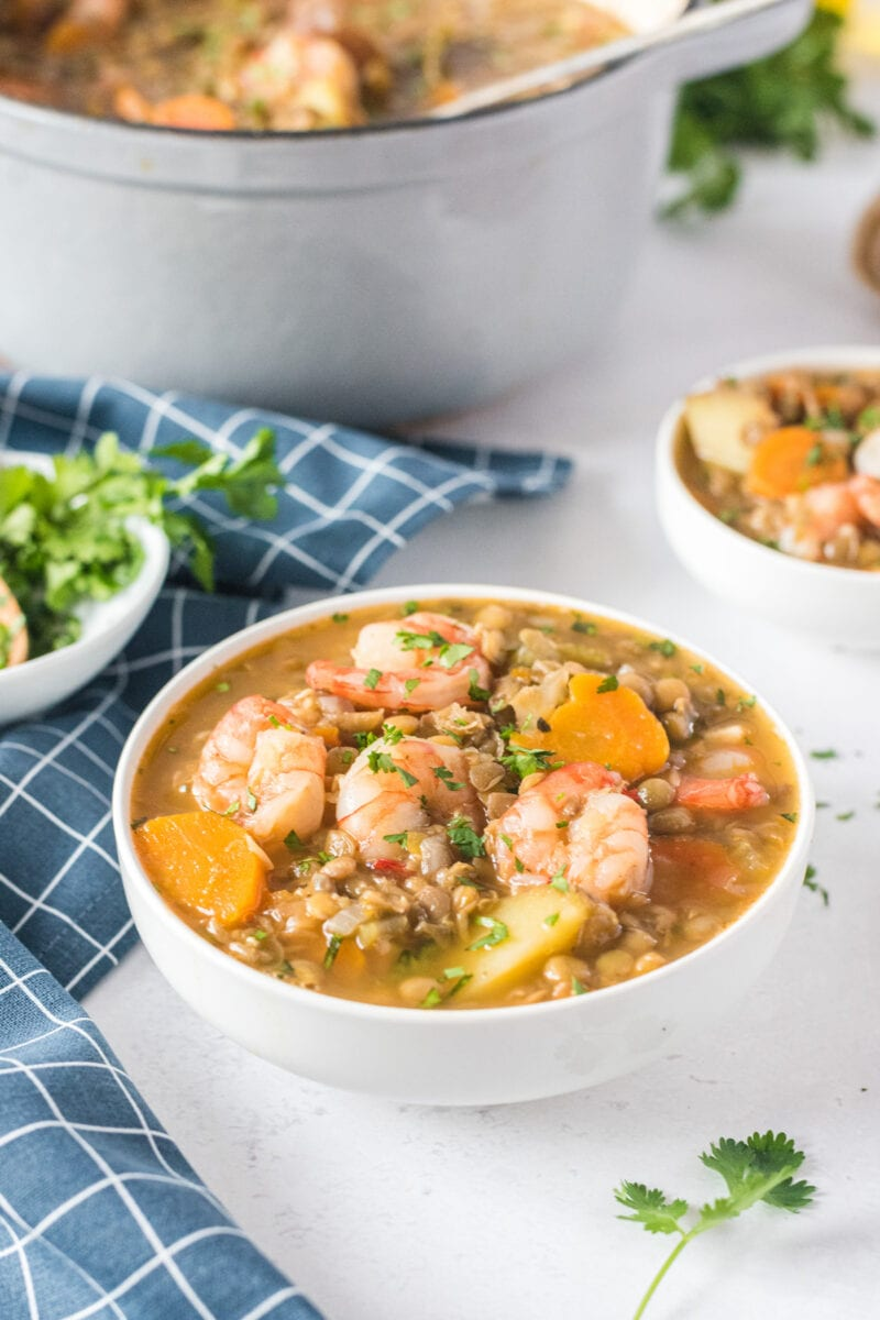 lentil stew ready to serve