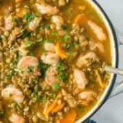 lentil stew with shrimp in a dutch oven