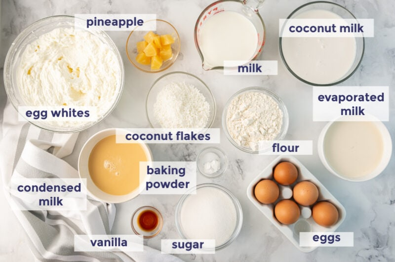 Tres Leches cupcakes ingredients