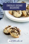 coconut macaroons on a board with white plate filled with cookies in the background Pinterest