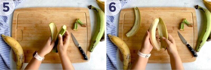 Peeling a green plantain