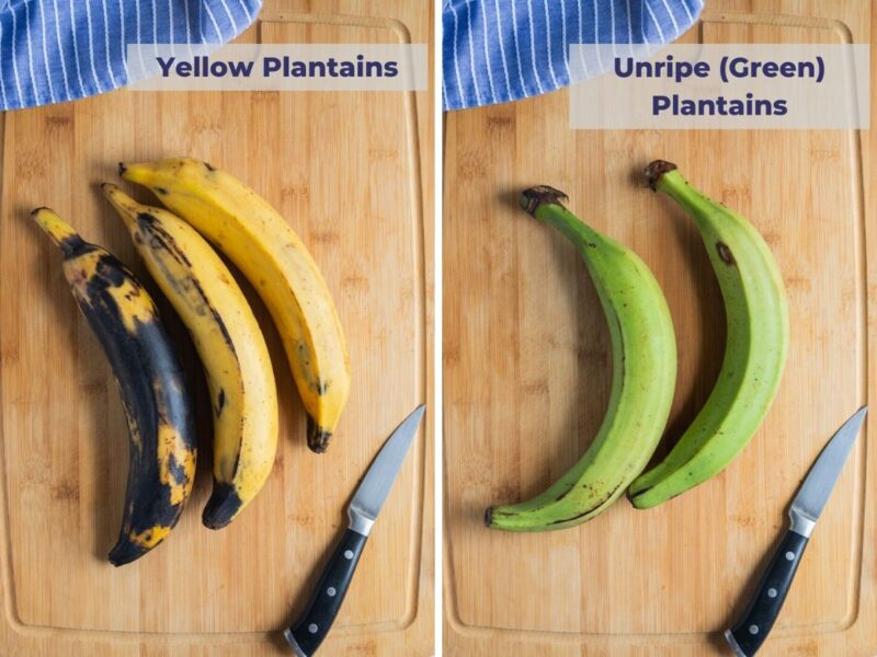 yellow and green plantains on a board