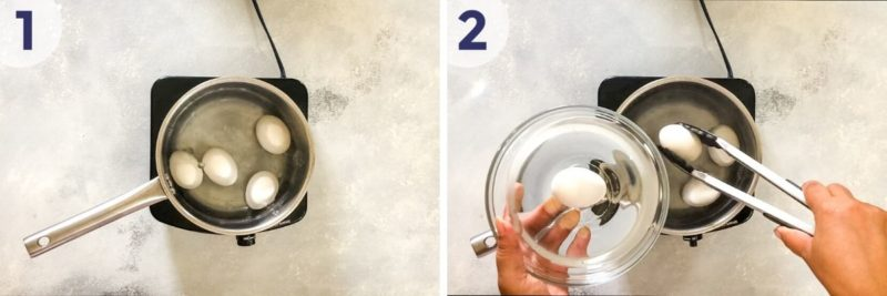 eggs in boiling water and being taken out