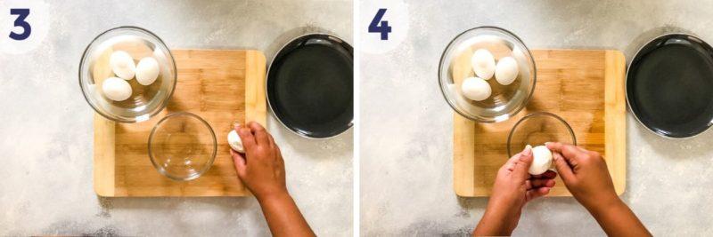 Pelando los huevos