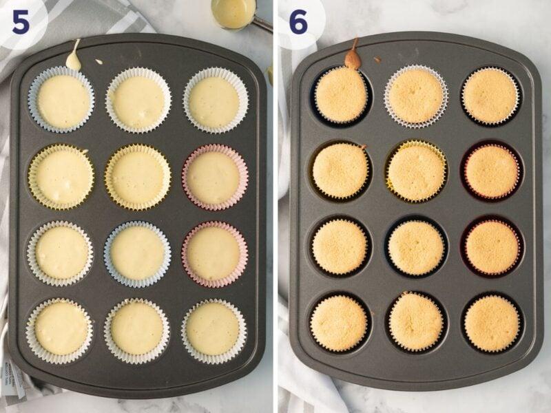 cupcake batter in muffin pan collage
