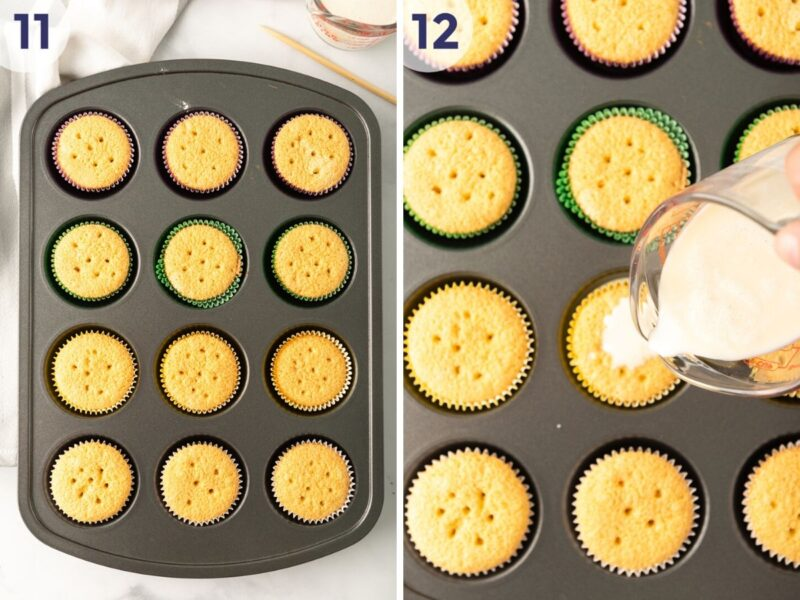 pouring the milk mixture into the cupcakes
