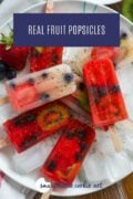 Real fruit popsicles on a plate with ice cubes Pinterest Graphic 2