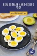 hard boiled eggs on a plate pinterest image