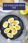 hard boiled eggs on a plate with toast Pinterest image