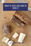 Peeled Yuca root on a cutting board pinterest graphic