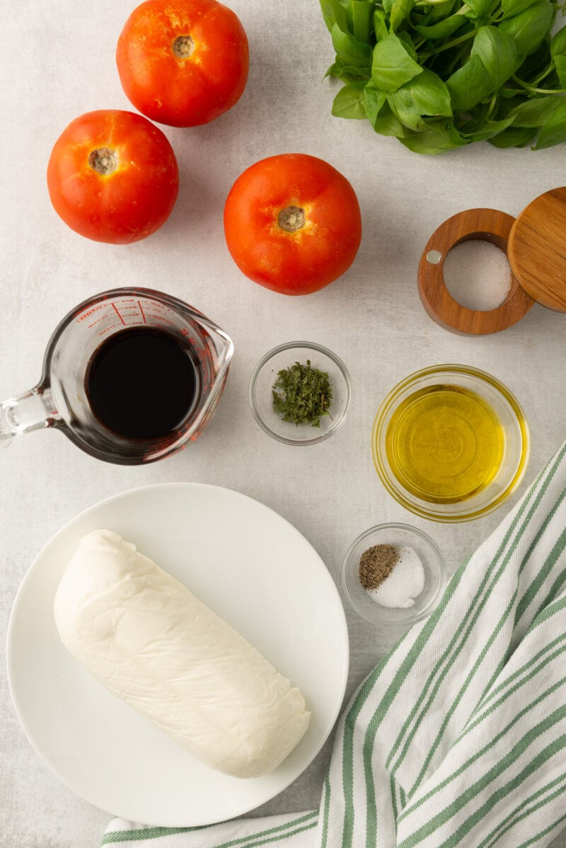 Caprese Salad ingredients on a counter