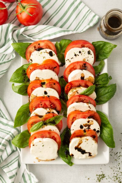 Caprese Salad on white platter