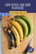 Plantains on a wooden chopping board pinterest graphic
