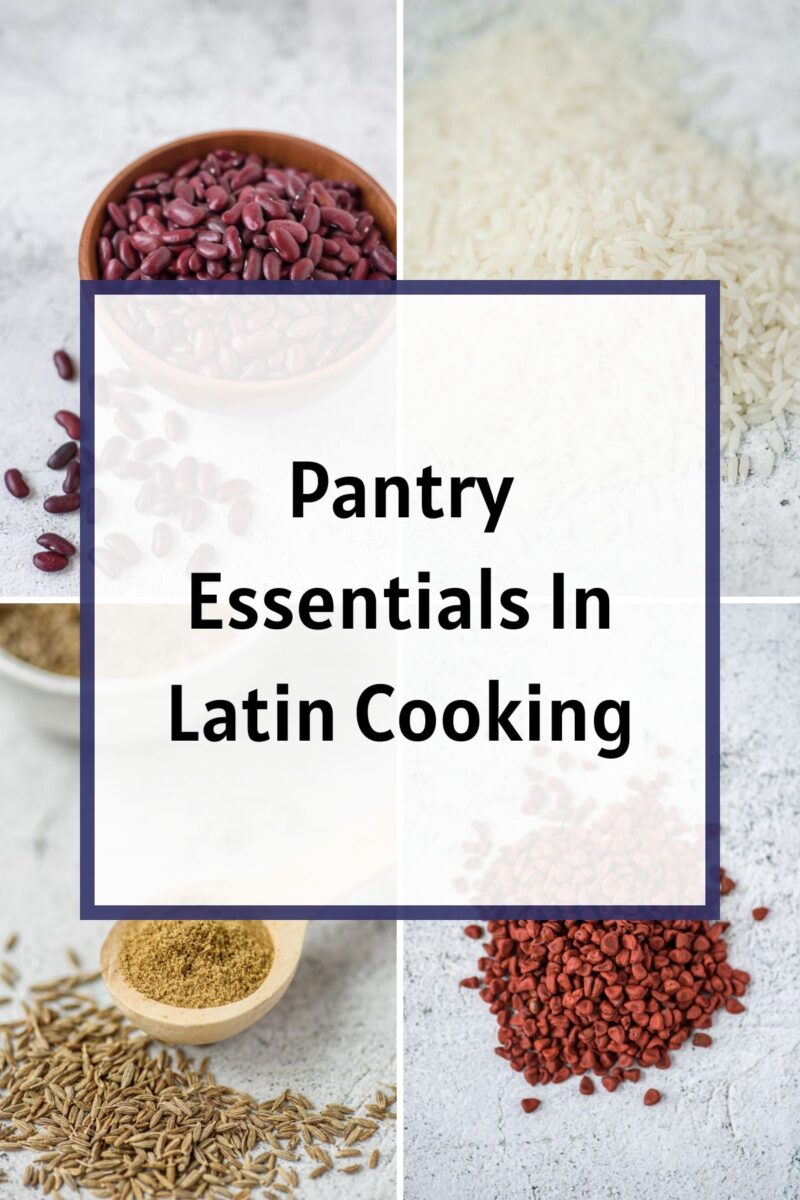 Pantry Essentials Collage Image with annatto seeds, cumin, beans and rice.
