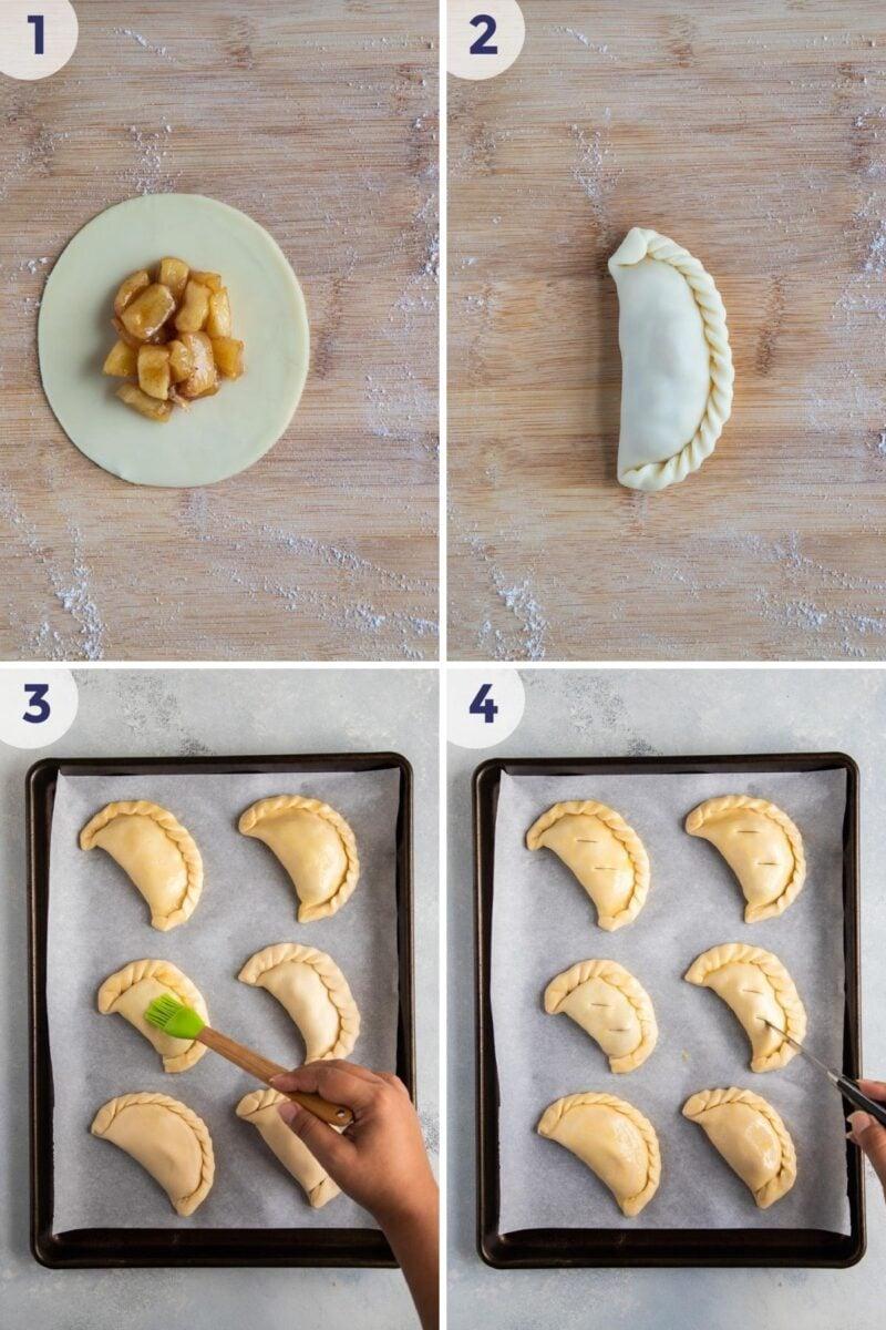 preparing the empanadas to bake
