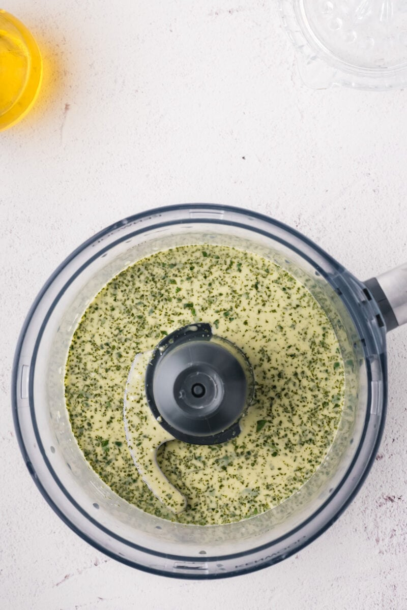 Overhead shot to show the cilantro dip in a blender