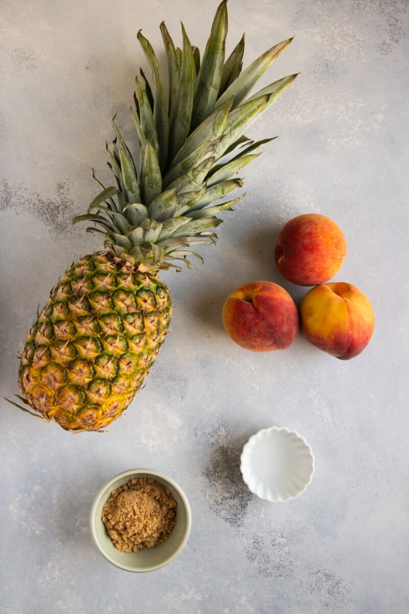 Grilled pineapple and peaches ingredients