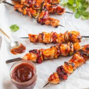 Chicken Skewers with Guava BBQ Sauce on a sheet pan