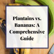 Plantains on a wooden chopping board with text overlay