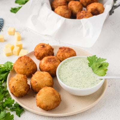 Cheese Stuffed Fried Yuca Balls & Cilantro Dressing