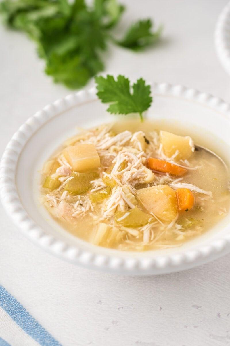 Sopa de pollo con fideos servida en un tazón blanco con guarnición de hierbas frescas.