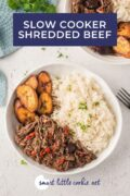 Shredded beef served in two bowls with rice and plantain - pinterest graphic