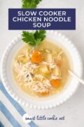 Overhead shot of the soup in a white bowl with a spoon pinterest image