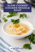 Chicken noodle soup served in a white bowl with fresh herb garnish. pinterest image