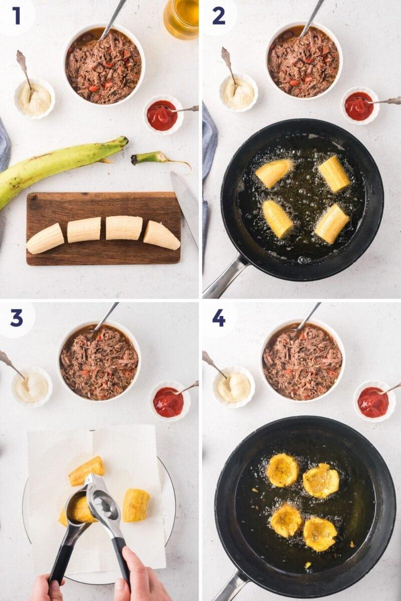 Preoceso para preparar Tostones Rellenos Imagen 1