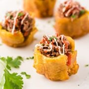 Plantain stuffed cups ready to serve