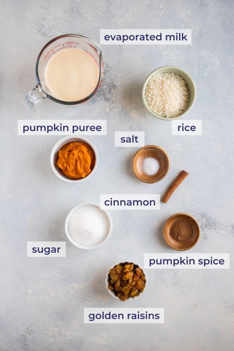 Pumpkin Rice Pudding ingredients