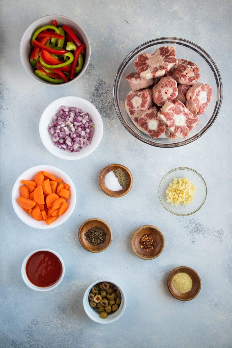 Ingredientes del rabo guisado picante