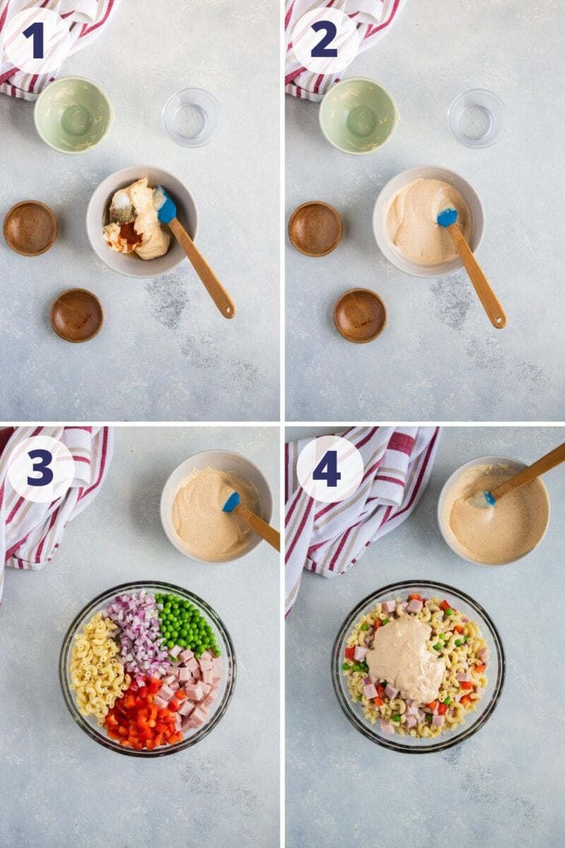 Four step by step photos to show how to make the macaroni salad.