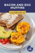 Bacon and Egg Muffins served with toast and avocado Pinterest graphics 2