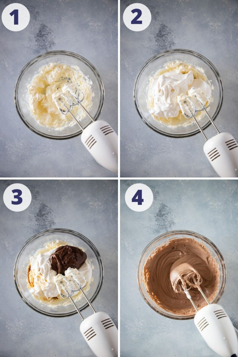 mixing the chocolate, cream cheese and whipped cream for the parfait