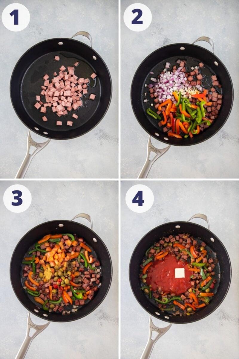 Preparando la salsa para espaguetis dominicanos