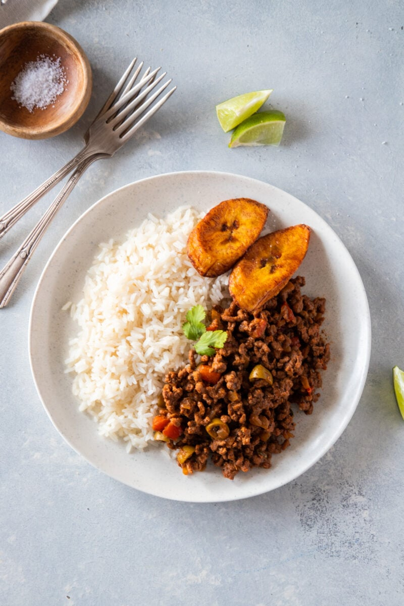 beef picadillo served on a white plate